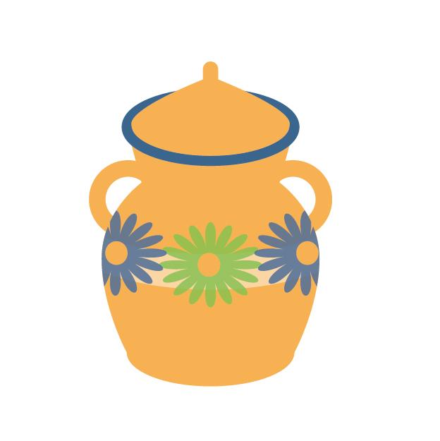 花柄の壺のイラスト