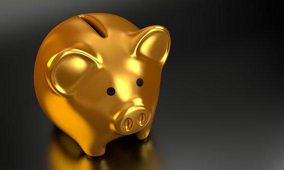 金色のブタの貯金箱