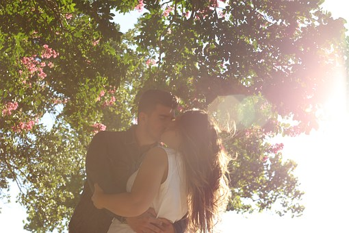 木の下でキスするカップル