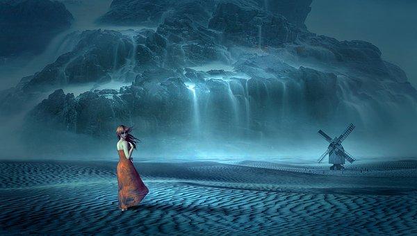 寂しそうな赤い服の女性と滝
