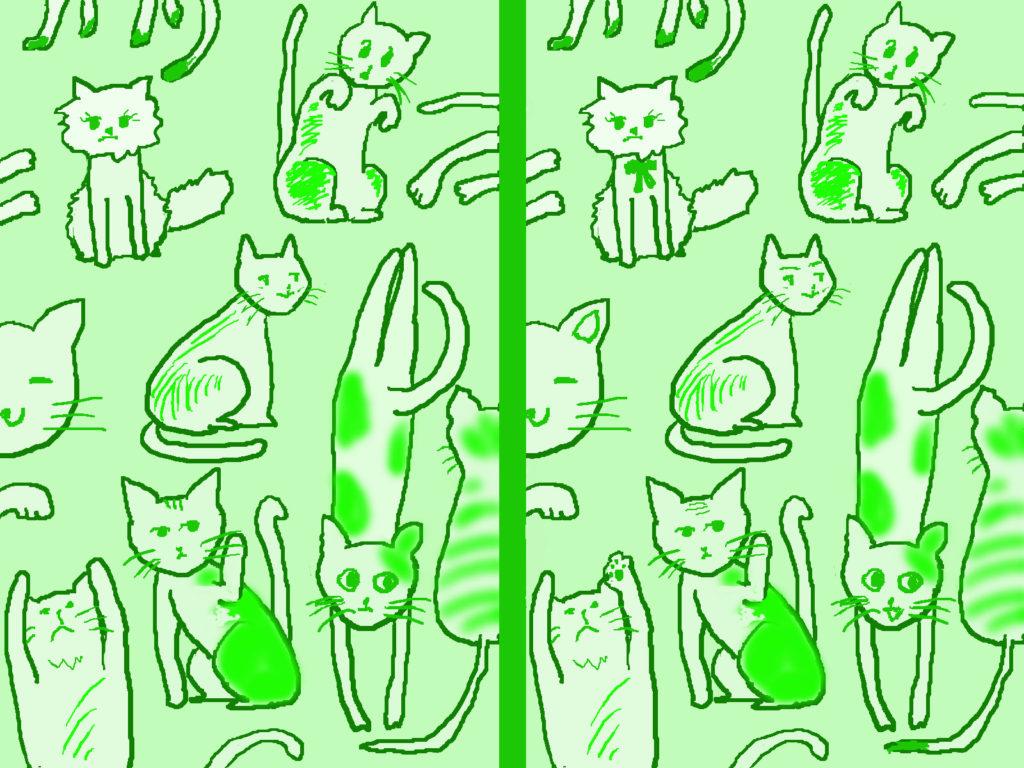 猫の絵の間違い探し