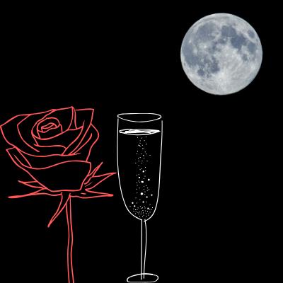 月明かりと水とバラ