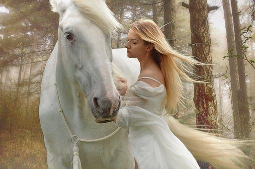 白い馬と女性
