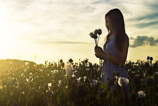 バラを見つめる女性