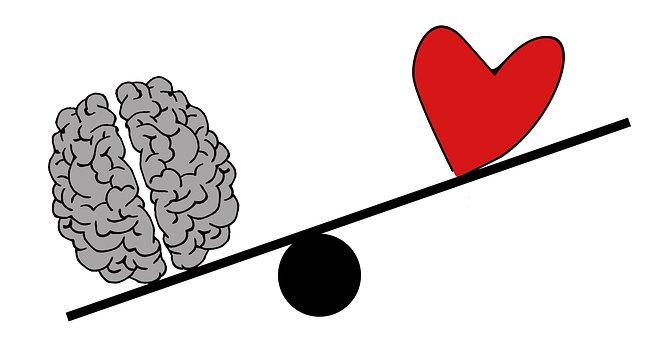 脳,ハート,傾き