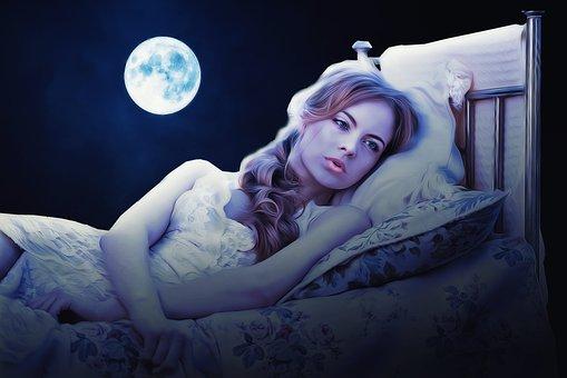 月夜,ベッド,女性