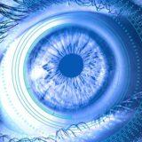 青く光る目