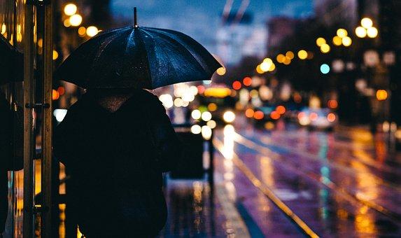 傘を差す男性の後ろ姿