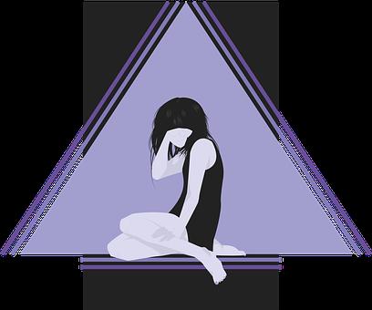 落ち込む女性のイラスト