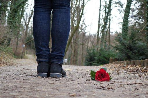 女性の足元に落ちている赤い薔薇