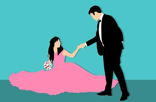 花嫁の手を取る新郎
