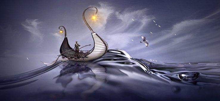 神秘的な海と船