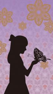 影になった少女が大きな蝶々を手に乗せてるイラスト