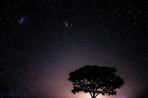 満天の星空と2つの流星
