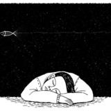 夢を見ている少年のイラスト